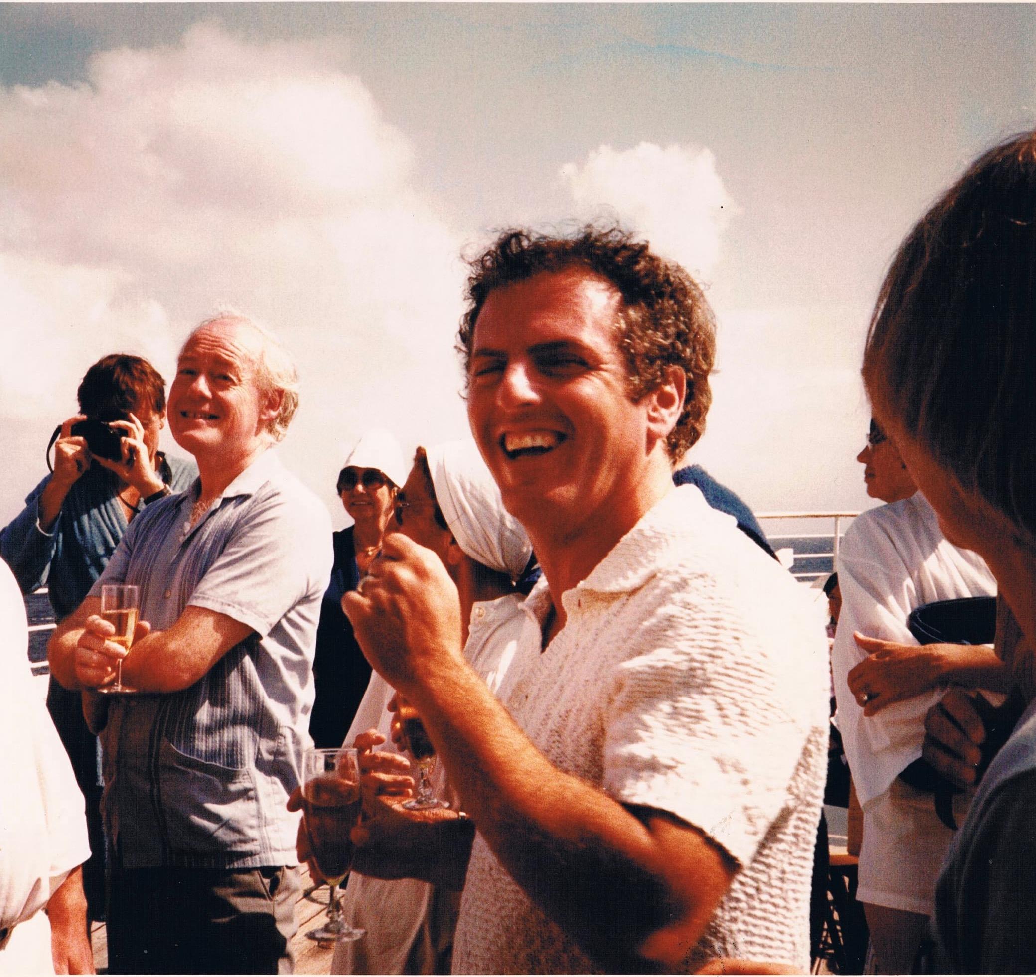 Jovial on deck picture. Neil Black and Daniel Barenboim. Caribbean Cruise, 1982. Credit: Margaret Cowen